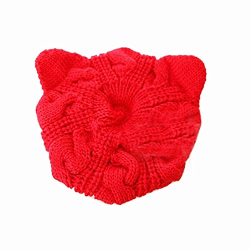 Cute Cat Ears Winter Knit Caps Beret Hat (red)