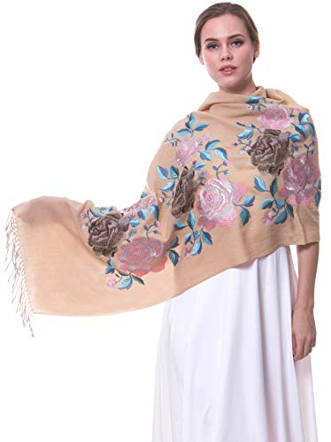 (MORCOE Women's Top-class 100% Wool Delicate Embroidered Soft Long Floral Scarf Warm Wrap Party Wedding Shawl Gift ...)