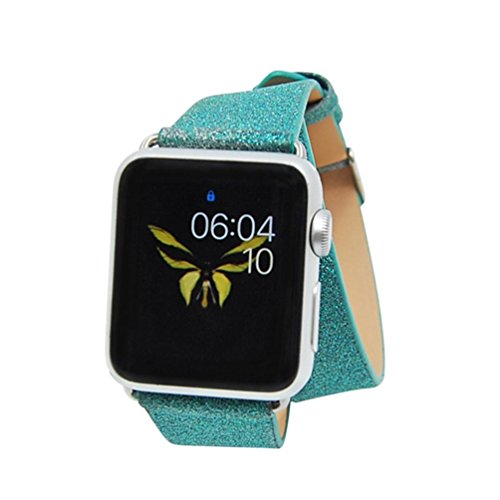 For Apple Watch Series 1/2 38MM, Sunfei Leather Band Double Tour Bracelet Watchband (Mint Green) - Hr Womens Green