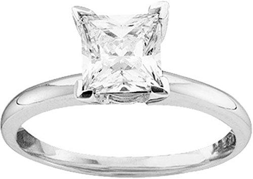 Princess Cut Diamond Band (Size 5.5 - 14k White Gold Princess Cut Diamond Solitaire Bridal Wedding Band Engagement Ring 1/6 Cttw)