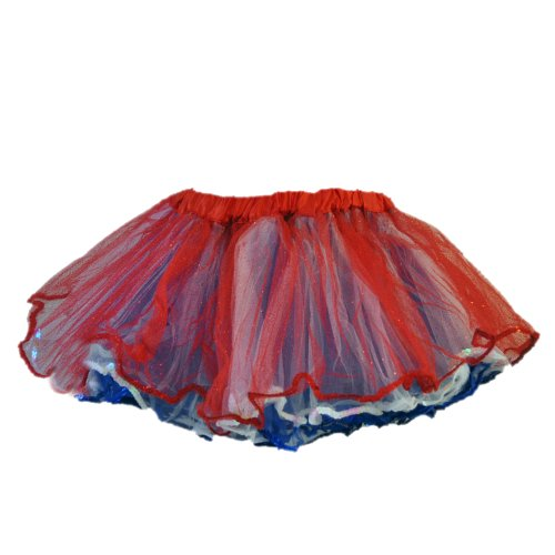 Red White & Blue Glitter Tulle Tutu 4 Layers w/Sequin Trim - PT1680-3 (Large)