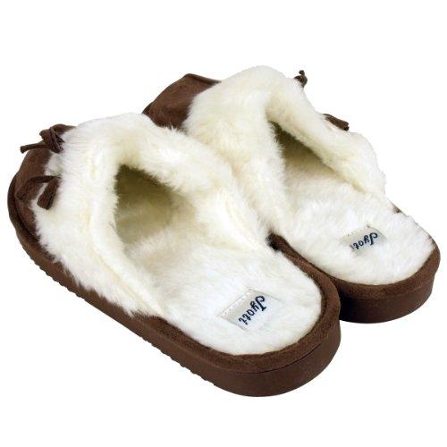 Jyoti - Damen Wildlederimitat Fellige Latschen Pantoffeln Slipper Größen EU 36 - 41 - Dunkelbraun, EU 39