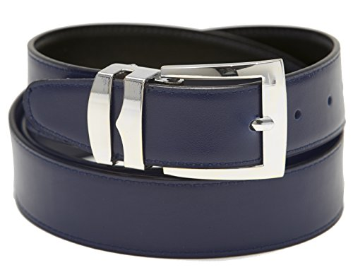 Men's Belt Reversible Wide Bonded Leather Silver-Tone Buckle NAVY BLUE /Black 30