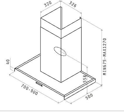 Elica Tender EDS IX/A/90 900 m³/h De pared Acero inoxidable - Campana (900 m³/h, Canalizado, 50 dB, De pared, Acero inoxidable, Acero inoxidable): Amazon.es: Hogar