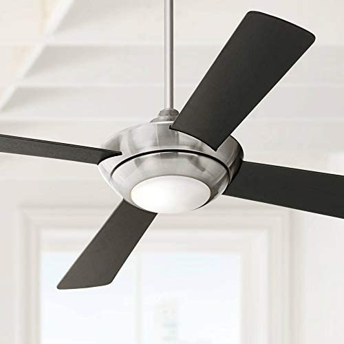 52 Debute Modern Ceiling Fan with Light LED Dimmable Remote Control Brushed Nickel Black Blades White Opal Glass for Living Room Kitchen Bedroom Family Dining – Casa Vieja