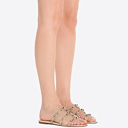 Strappy Studded Mules Pan Caitlin Femmes Sandales Or 45 Rivets Pantoufles Rockstud 35 q0XOwWwg