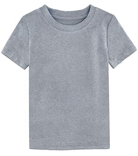 A&J DESIGN Toddler Thick Plain Tee (Light Gray, 3T)