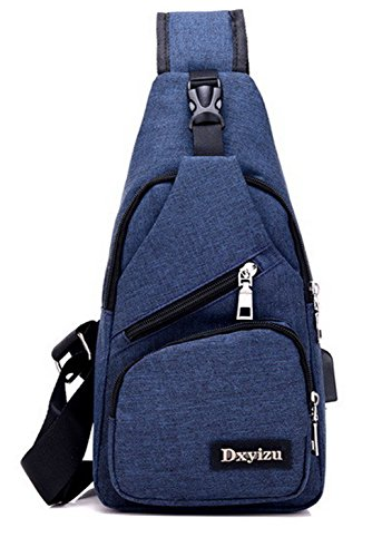 Cross Handbags Women's AMGBX181339 Blue Body Fashion Canvas Zippers Satchel WeenFashion B4xnUCn