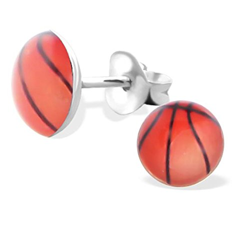 - Basketball Studs Earrings Girls Stering Silver 925 Post Studs (E19695)