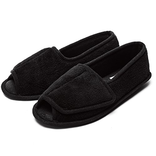 Git-up Women Diabetic Slippers/W Arthritis Edema Adjustable Closure Memory Foam House Shoes Open Toe 7#,Black