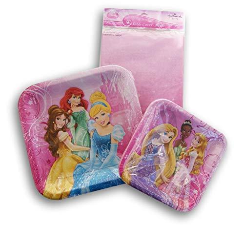 - Disney Princess Themed Party Set - Dinner Plates, Dessert Plates, Tablecover
