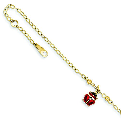 14K Gold Adjustable Enamel Ladybug Anklet Jewelry 10
