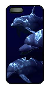 iPhone 5 5S Case Dolphins Animal PC Custom iPhone 5 5S Case Cover Black