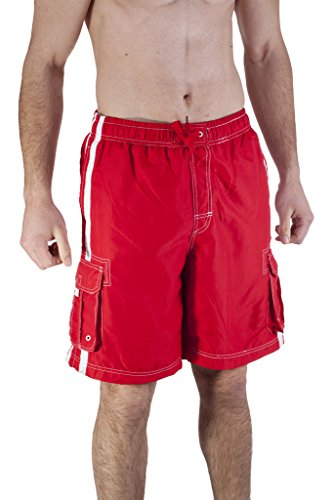 Mens Swim Trunk With Cargo Pockets Large, Red (Mens Swim Liner)