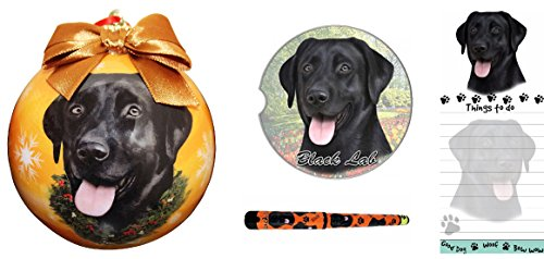 Labrador Dog Gift Box (Labrador (Black) Dog Gift Box Bundle with Shatter Proof Ball Ornament, Car Coaster, Magnetic To-Do List Notepad, and Easy Glide Gel Refillable Pen)