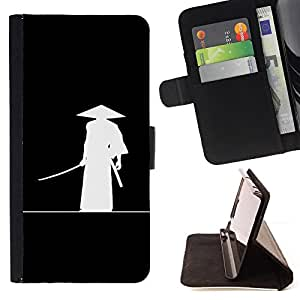 Minimalist Japanese Samurai Katana Warrior - Painting Art Smile Face Style Design PU Leather Flip Stand Case Cover FOR Samsung Galaxy S6 EDGE @ The Smurfs