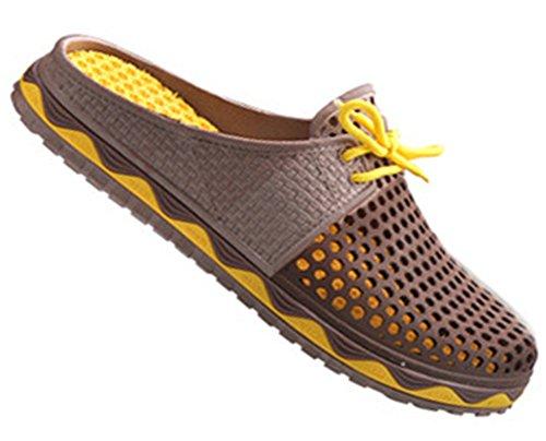 Fortuning's JDS Moda transpirabilidad verano zapatos de playa ahuecan hacia fuera zapatillas para las mujeres y los hombres marrón