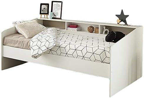 Función cama 90 * 200 cm Blanco Estantería pared Cuna Cama juvenil Tumbona Cama Infantil juvenil habitaciones gästezimmer Colcha Cama