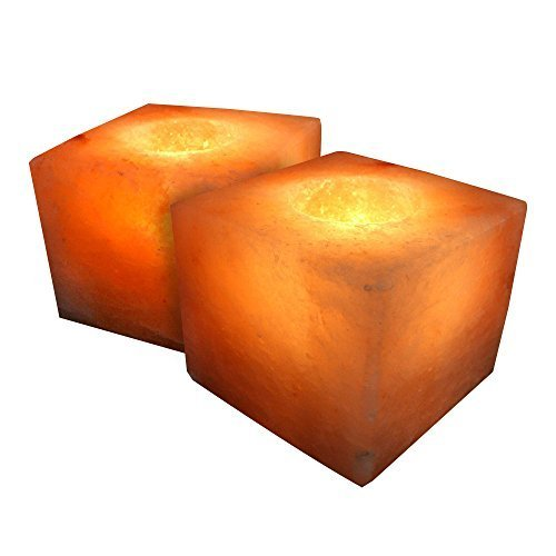 Crystal Allies Gallery: CA SCH-CUBE-2pc Pack of 2 Natural Himalayan Cube Shaped Salt Tealight Candle Holder Air Purifier & Ionizer w/ Authentic Crystal Allies Info Card
