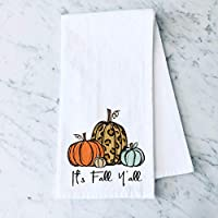 It's Fall, Y'all Leopard Pumpkin Flour Sack Kitchen Towel Holiday Home Decor
