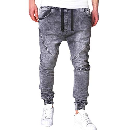 ALIKEEY Moda para Hombres Casual Vintage Elastic Wash Distorted Denim Slim Jeans Jeans Gris