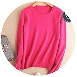 Autumn Winter Cashmere Cotton Blended Knitted Women Sweaters And Pullovers Jersey Fuchsia M