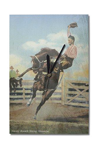 Western Americana - Rodeo Scenes; Smoky Branch Riding a Bucking Glasseye (10x15 Wood Wall Clock, Decor Ready to Hang)