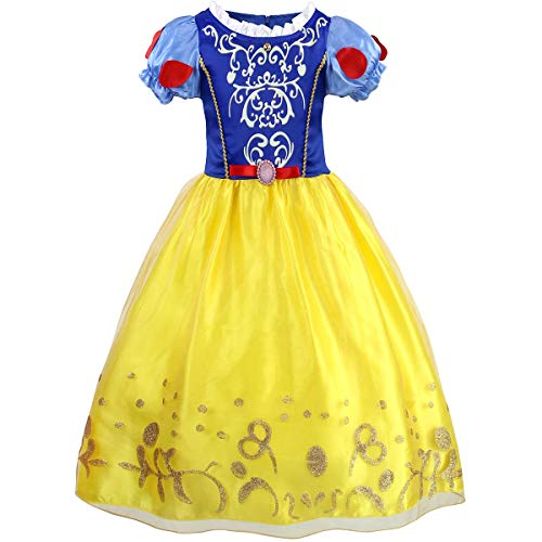 HenzWorld Princess Dresses Snow White Costumes for Little Girls Birthday Party Halloween Fairy Tale Outfits 5-6 Years]()