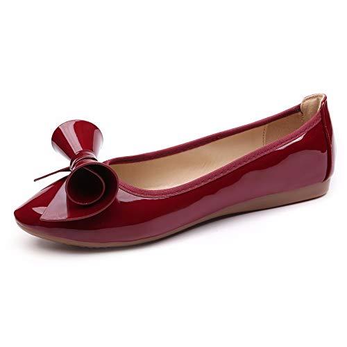 FLYRCX Los Zapatos Planos Acentuados cómodos de la Moda Casual Bailan los Zapatos Las Mujeres Embarazadas Suaves de la Parte Inferior Calzan los Zapatos Plegables Puestos en su Bolso, 38 UE 37 EU