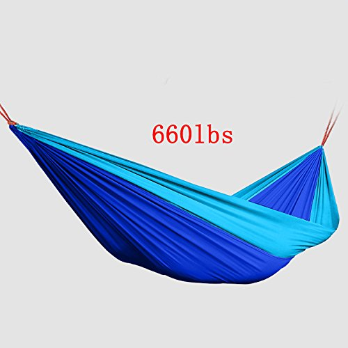 Stamo Outdoor Double Camping Hammock Nylon Hammock with Tree Straps and Carabiner (Blue)