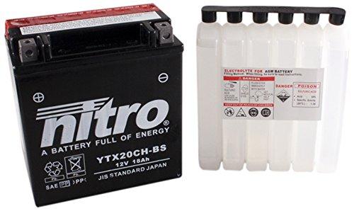N NITRO YTX20CH-BS Batterie Moto AGM Ouvert avec Pack Acide H