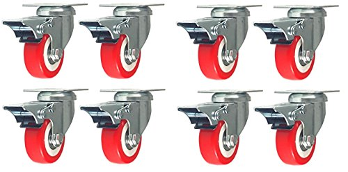 Online Best Service 8 Pack With Brake Caster Wheels Swivel Plate Casters On Red Polyurethane Wheels