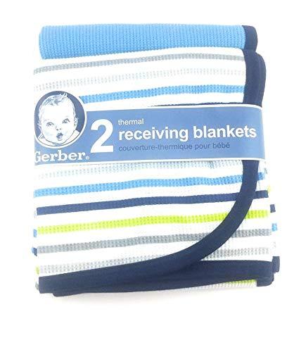 Gerber 2PK Thermal Receiving Blankets (Blue Stripe)