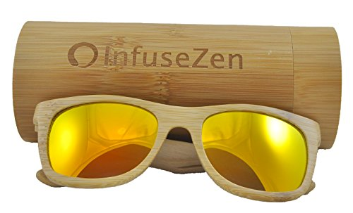 Bamboo Wooden Sunglasses in Trendy Wayfarer Style, Unisex Wood Sun Glasses for Men or Women, Shades in Natural Bamboo with Polarized Orange Mirror - Shades Man In