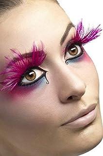 eff8ff3663d Ladies Long Pink Feather Burlesque Hen Do Drag Queen False Fake Eyelashes  Fancy Dress…