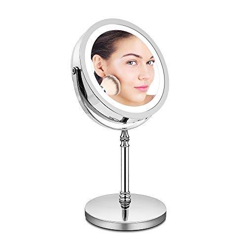 BRIGHTINWD Magnifying Mirror with Lights, Lighted Makeup Mirror 10X Magnification, Vanity Mirror with Lights, Double…