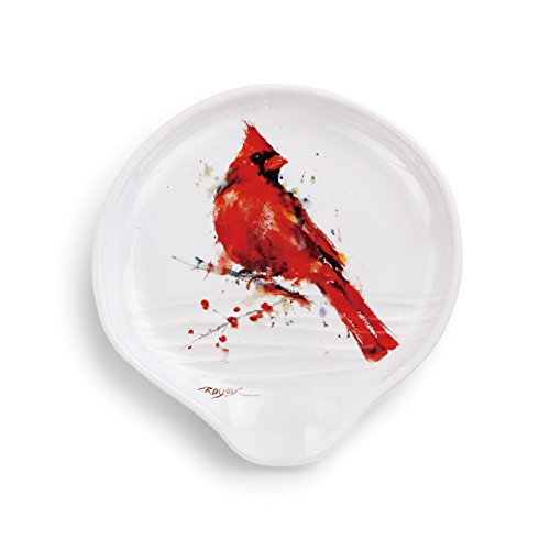 - Redhead Cardinal Watercolor Red On White 5 x 5 Glossy Stoneware Spoon Rest