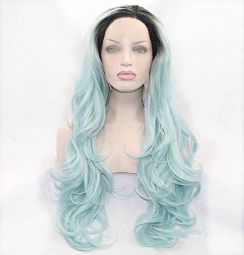 Sun Goddess  Grüne Body Wave Mit Dunklen Wurzeln Synthetische Gemischt Spitze Vorne Perücken HitzeBesteändige Faser Haare Für Frauen, Ombre, 22 Zoll 22inches