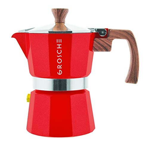 GROSCHE Milano Moka Stovetop Espresso Coffee Maker (3 cup/5 oz, Red)