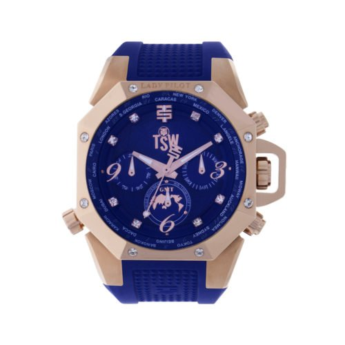 Gmt World Timer (Technosport (TSW) TS-100-LP3 Women's Lady Pilot Navy Blue Watch World Timer GMT With Swarovski Crystals)