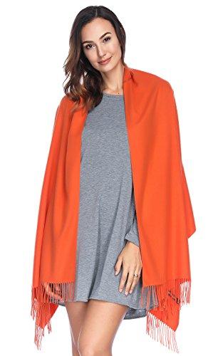 HOYAYO Cashmere Pashmina Shawls and Wraps Scarf(Orange)