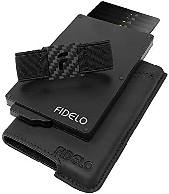 FIDELO Minimalist Wallet for Men - Slim Credit Card Holder RFID Mens Wallets with Cash Pocket Removable Case