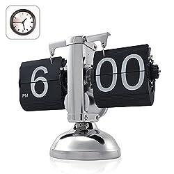 HzxlT Creative Retro Flip Down Desk Clock Internal Gear Operated Modern Page Turning 12 Hour AM/PM Desktop Table Clock