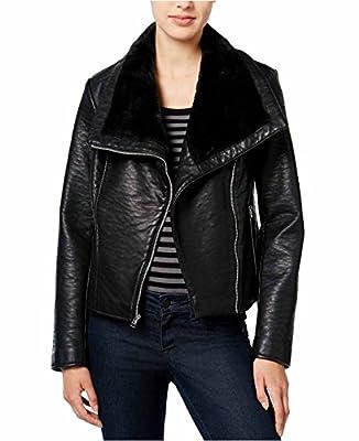Wildflower Junior's Faux-Fur Trim Leather Moto Jacket
