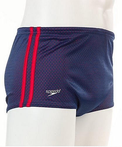 Speedo Men's Poly Mesh Square Leg Swimsuit, Navy/Red, - Swimwear Training Online