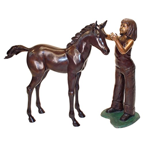 Equestrian Girl and Horse Cast Bronze Garden Statue