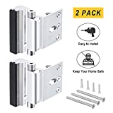 2Pack Home Security Door Lock,Child Safety Door Reinforcement Lock with 3' Stop Withstand 800 lbs for Inward Swinging Door,Easy Open Childproof Night Lock with 16Screws Defend Your Home(Silver-2 Pack)