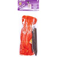 """Park & Sun Sports Outdoor Volleyball Boundary Poly Cord Rope with Ground Stakes: 1/4"""" Wide Court Line Marker, Orange"""