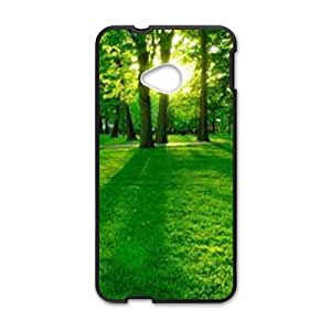 Personalized Clear Phone Case For HTC M7,sunshing fresh green forest
