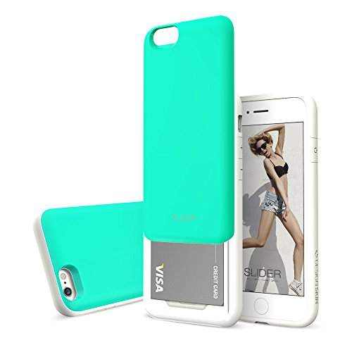 Slider 3-Layer TPU and PC Slim Bumper Wallet Case with Card Slot for iPhone 6s Plus / 6 Plus - Mint Blue
